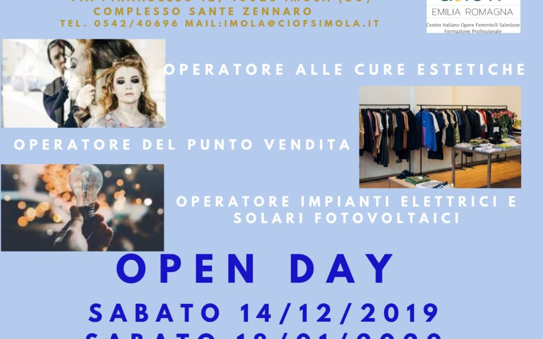 OPEN DAY  CORSI A QUALIFICA PER ALLIEVI 15-18ENNI