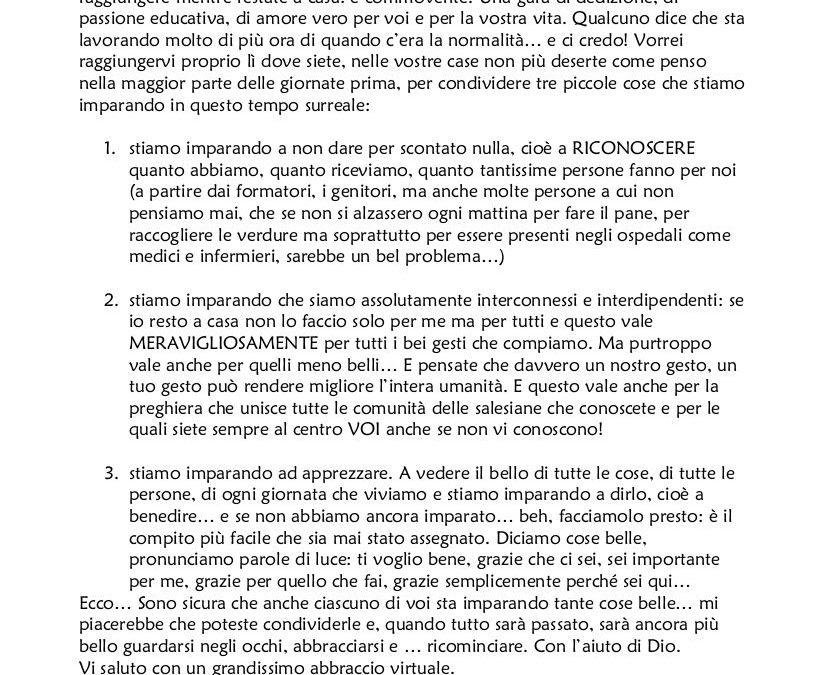 """""""Cari ragazzi…"""" Lettera della presidente Ciofs/FP nazionale, suor Manuela Robazza"""